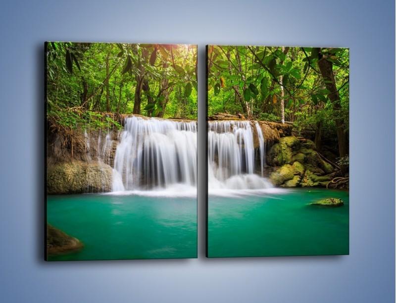 Obraz na płótnie – Kąpiel w środku lasu – dwuczęściowy prostokątny pionowy KN995