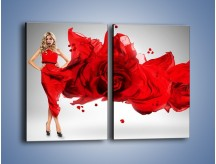 Obraz na płótnie – Czerwona róża i kobieta – dwuczęściowy prostokątny pionowy L144