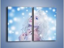 Obraz na płótnie – Biała dama i światełka – dwuczęściowy prostokątny pionowy L318