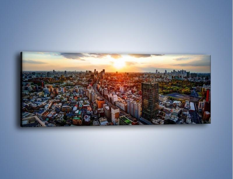 Obraz na płótnie – Panorama miasta o zachodzie słońca – jednoczęściowy panoramiczny AM587