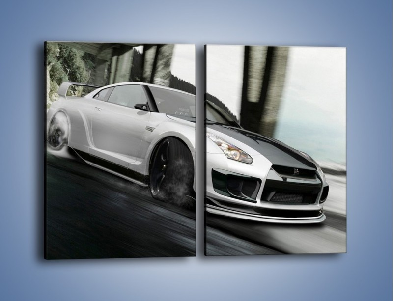 Obraz na płótnie – Driftujący Nissan GTR – dwuczęściowy prostokątny pionowy TM007