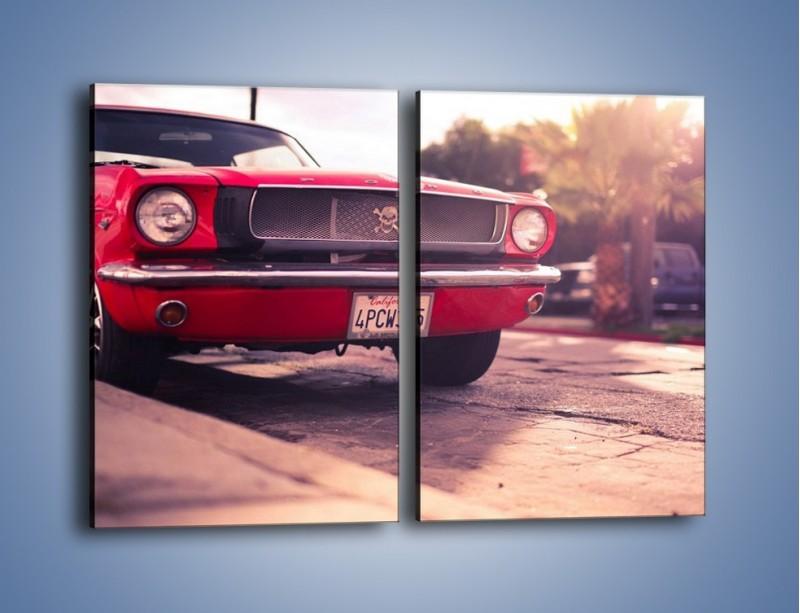 Obraz na płótnie – Czerwony Ford Mustang – dwuczęściowy prostokątny pionowy TM087