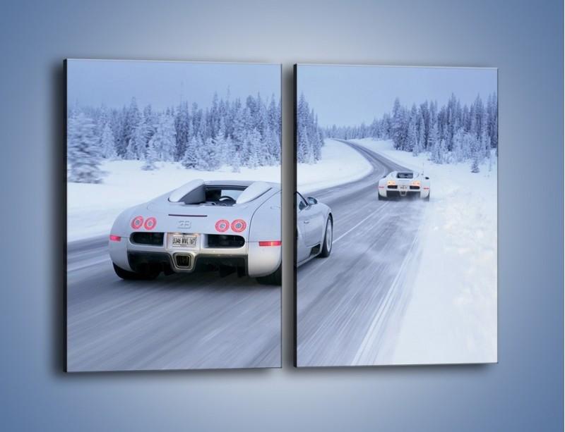 Obraz na płótnie – Bugatti Veyron w śniegu – dwuczęściowy prostokątny pionowy TM134