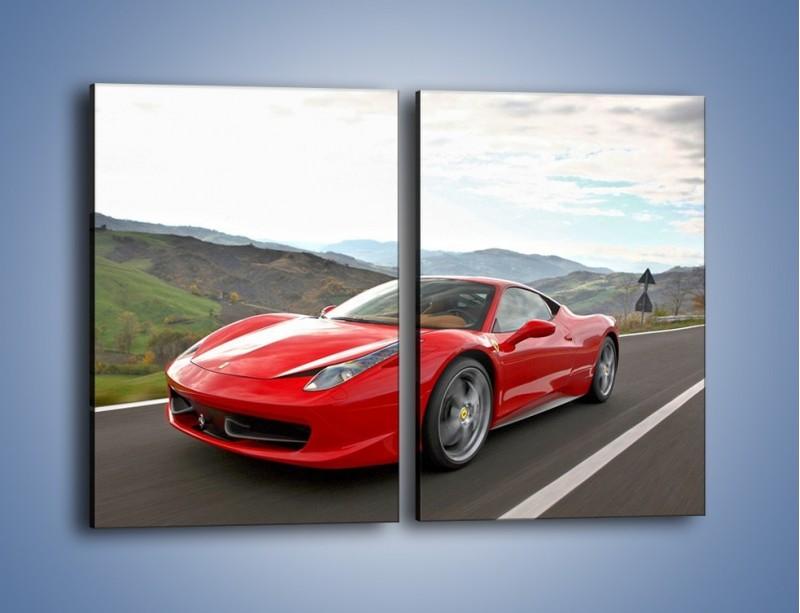 Obraz na płótnie – Czerwone Ferrari 458 Italia – dwuczęściowy prostokątny pionowy TM194