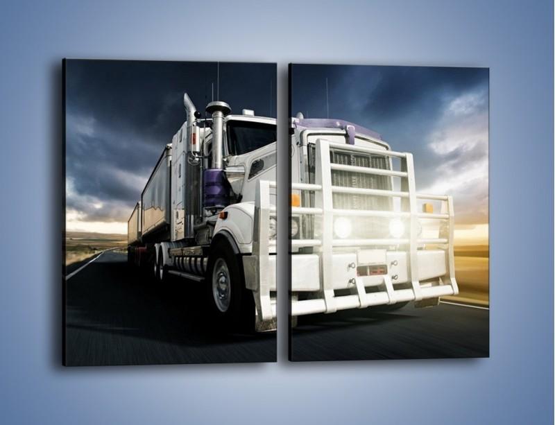 Obraz na płótnie – Duży tir na drodze – dwuczęściowy prostokątny pionowy TM216