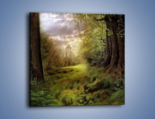 Obraz na płótnie – Zielona droga do zamku – jednoczęściowy kwadratowy GR003