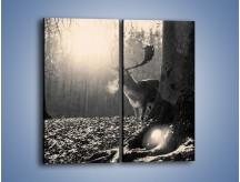 Obraz na płótnie – Jeleń w sepii – dwuczęściowy prostokątny pionowy Z250