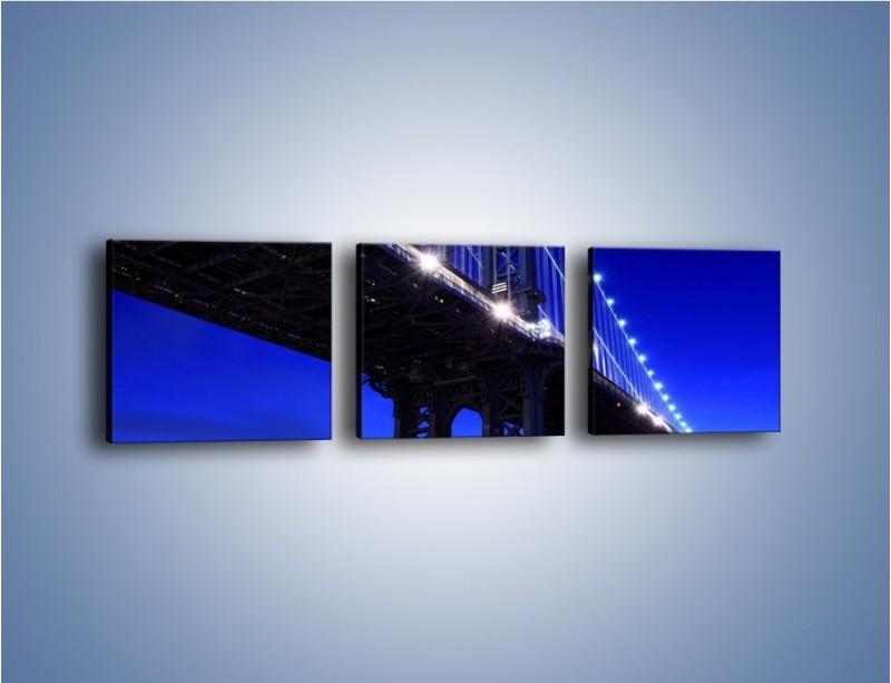 Obraz na płótnie – Oświetlony most wieczorem – trzyczęściowy AM003W1