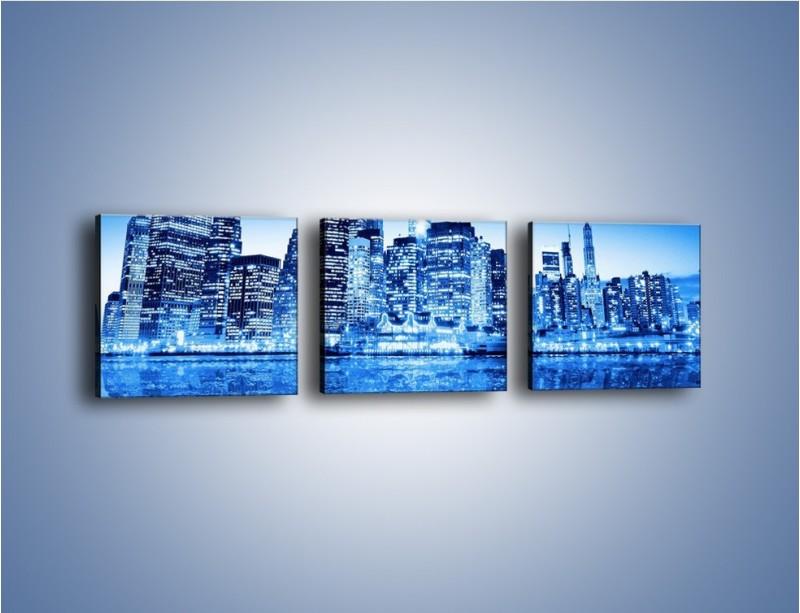 Obraz na płótnie – Odbicie miasta w tafli wody – trzyczęściowy AM004W1