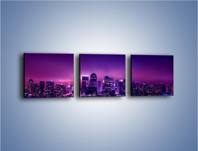 Obraz na płótnie – Wieżowce w odcieniach fioletu – trzyczęściowy AM008W1