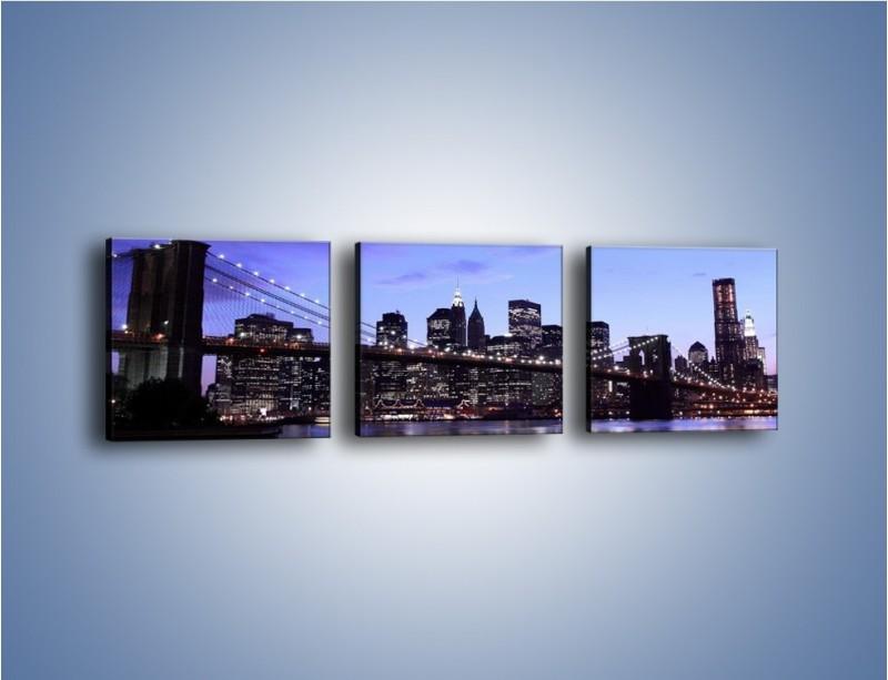 Obraz na płótnie – Most Brookliński przed zmierzchem – trzyczęściowy AM016W1