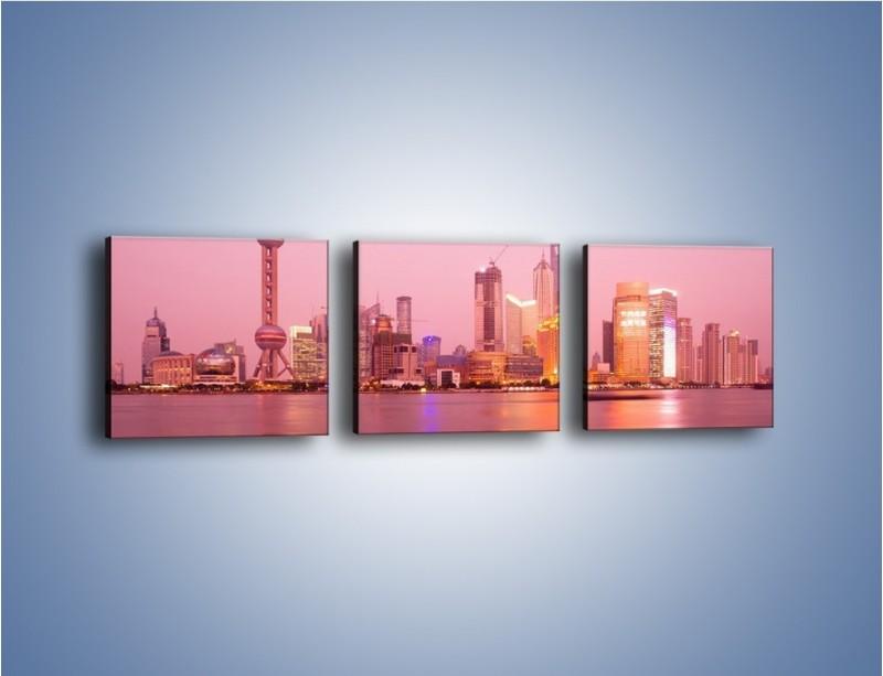 Obraz na płótnie – Miasto o poranku w odcieniach różu – trzyczęściowy AM020W1