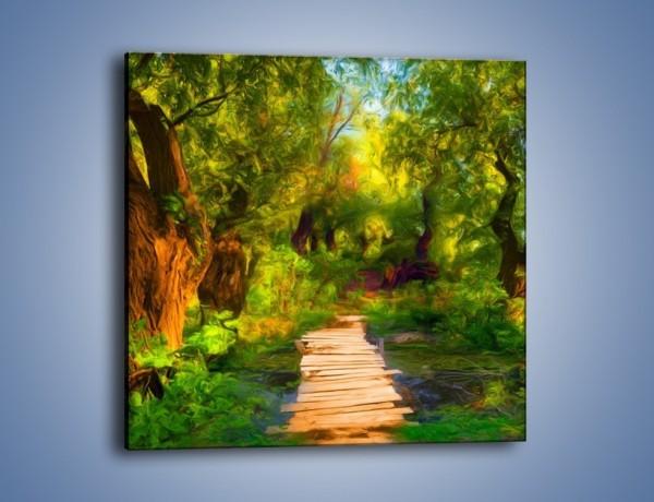 Obraz na płótnie – Drewniana kładka przez las – jednoczęściowy kwadratowy GR007