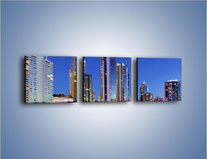 Obraz na płótnie – Rozgwieżdżone niebo nad wieżowcami – trzyczęściowy AM031W1