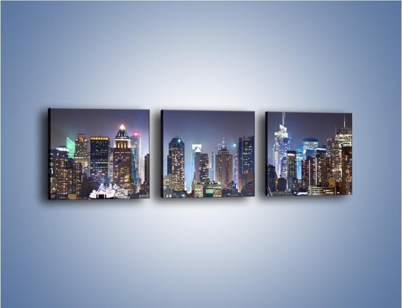 Obraz na płótnie – Oświetlone miasto nocą – trzyczęściowy AM034W1