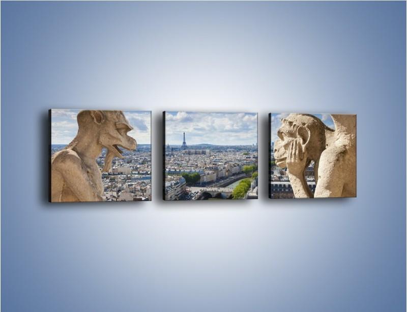 Obraz na płótnie – Kamienne gargulce nad Paryżem – trzyczęściowy AM037W1