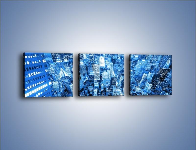 Obraz na płótnie – Centrum miasta w niebieskich kolorach – trzyczęściowy AM042W1