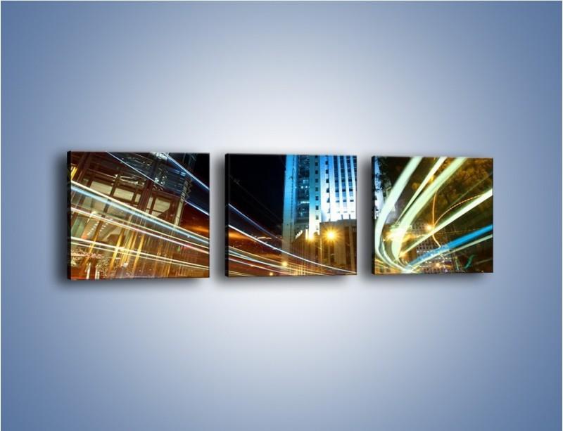 Obraz na płótnie – Światła w ruchu ulicznym – trzyczęściowy AM048W1