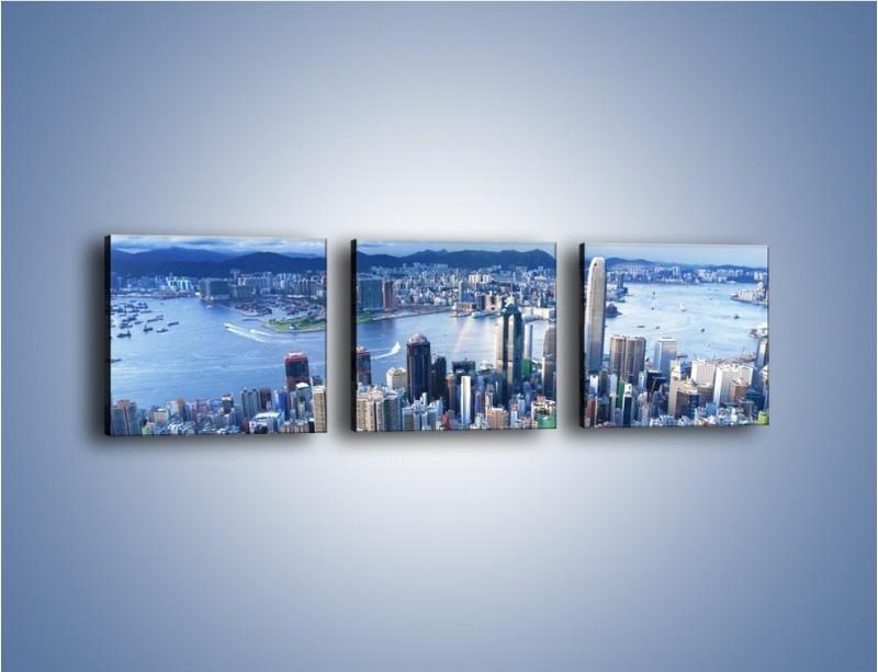 Obraz na płótnie – Miasto portowe o poranku – trzyczęściowy AM050W1