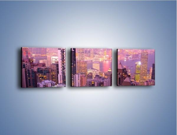 Obraz na płótnie – Duże miasto budzące się o poranku do życia – trzyczęściowy AM062W1