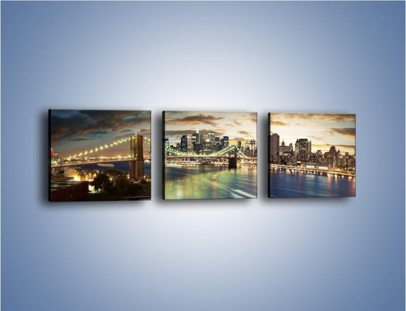 Obraz na płótnie – Oświetlony most w Nowym Jorku – trzyczęściowy AM066W1