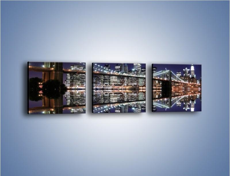 Obraz na płótnie – Most Brookliński w lustrzanym odbiciu wody – trzyczęściowy AM067W1