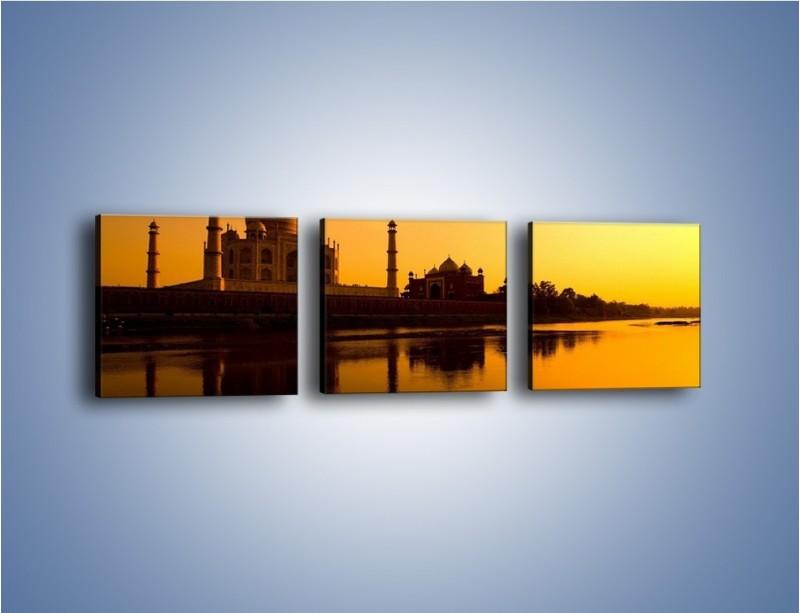 Obraz na płótnie – Taj Mahal o zachodzie słońca – trzyczęściowy AM075W1