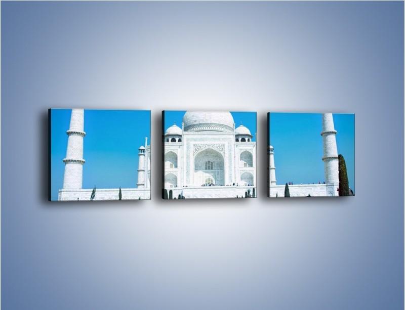 Obraz na płótnie – Taj Mahal pod błękitnym niebem – trzyczęściowy AM077W1