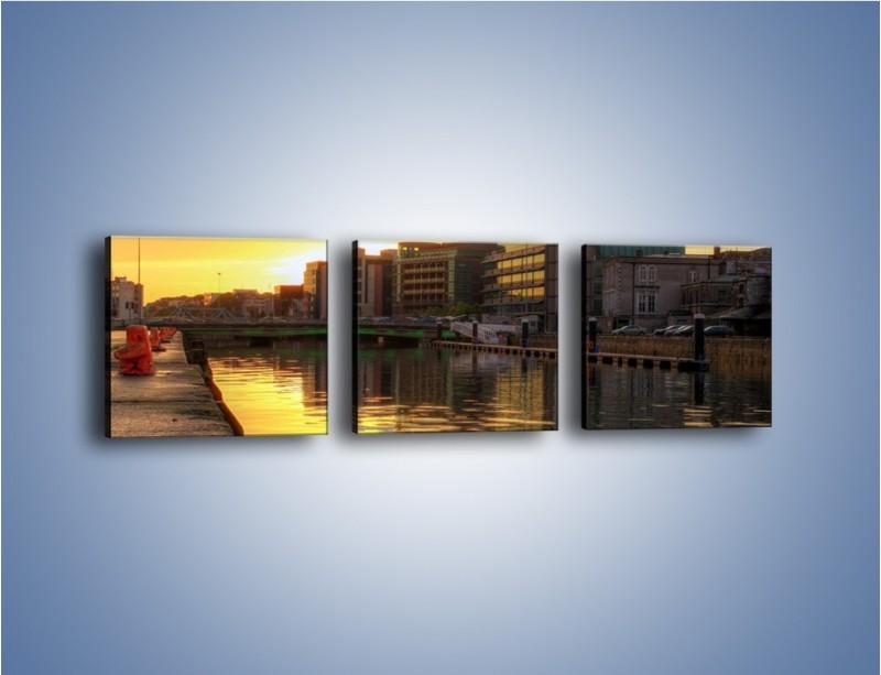 Obraz na płótnie – Kanał portowy o wschodzie słońca – trzyczęściowy AM079W1