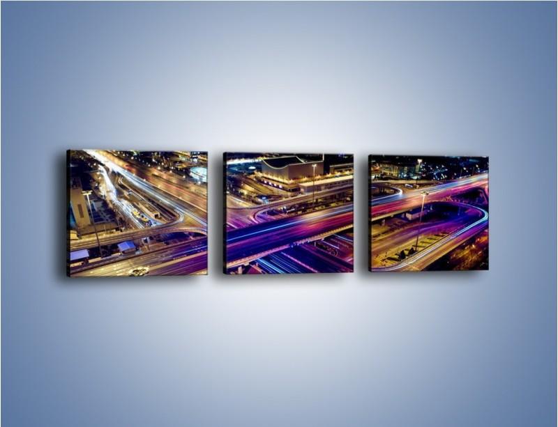 Obraz na płótnie – Skrzyżowanie autostrad nocą w ruchu – trzyczęściowy AM087W1