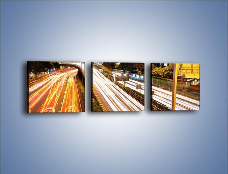 Obraz na płótnie – Ulice w ruchu w mieście – trzyczęściowy AM089W1