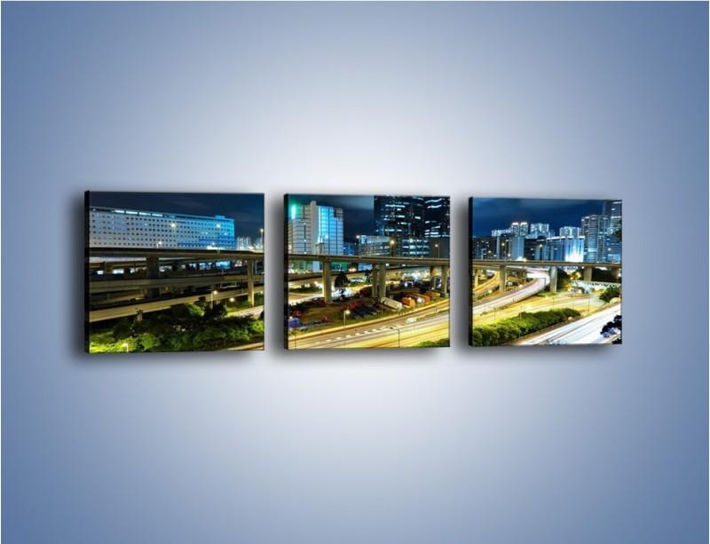 Obraz na płótnie – Przedmieście miasta wieczorem – trzyczęściowy AM091W1