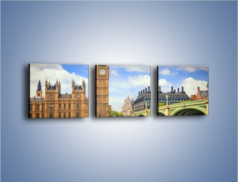 Obraz na płótnie – Big Ben w pochmurny dzień – trzyczęściowy AM095W1