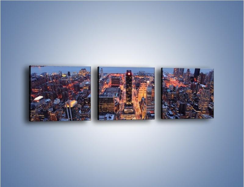 Obraz na płótnie – Budzące się ze snu miasto – trzyczęściowy AM097W1