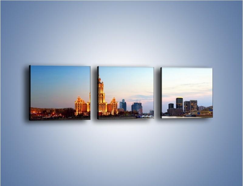 Obraz na płótnie – Nadrzeczne miasto o poranku – trzyczęściowy AM120W1
