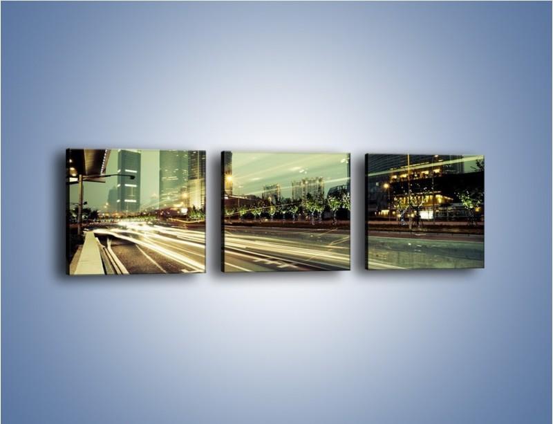 Obraz na płótnie – Uliczny ruch w świetle lamp w Tokyo – trzyczęściowy AM127W1