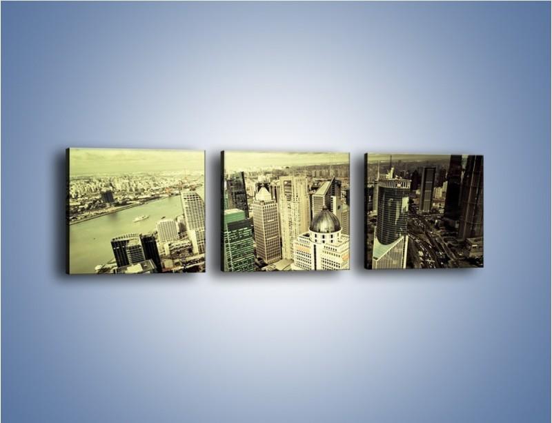 Obraz na płótnie – Ciemne chmury nad miastem – trzyczęściowy AM130W1