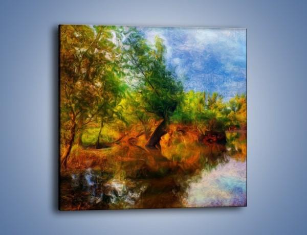 Obraz na płótnie – Drzewa w wodnym lustrze – jednoczęściowy kwadratowy GR010