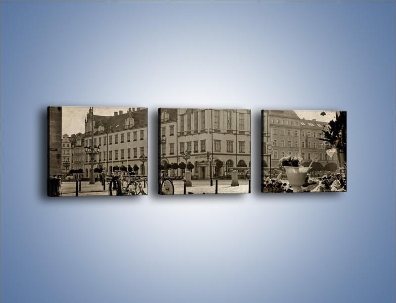 Obraz na płótnie – Rynek Starego Miasta w stylu vintage – trzyczęściowy AM138W1