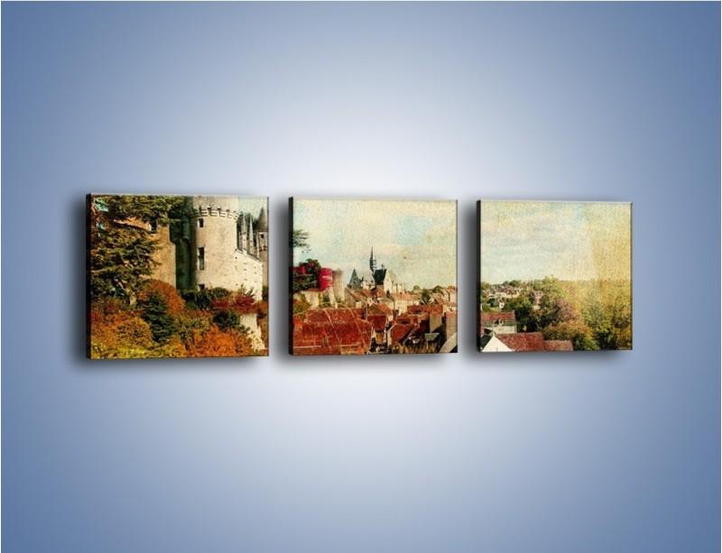 Obraz na płótnie – Zamek nad miasteczkiem w stylu vintage – trzyczęściowy AM142W1