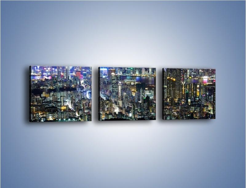 Obraz na płótnie – Nocne światła w dużym mieście – trzyczęściowy AM144W1