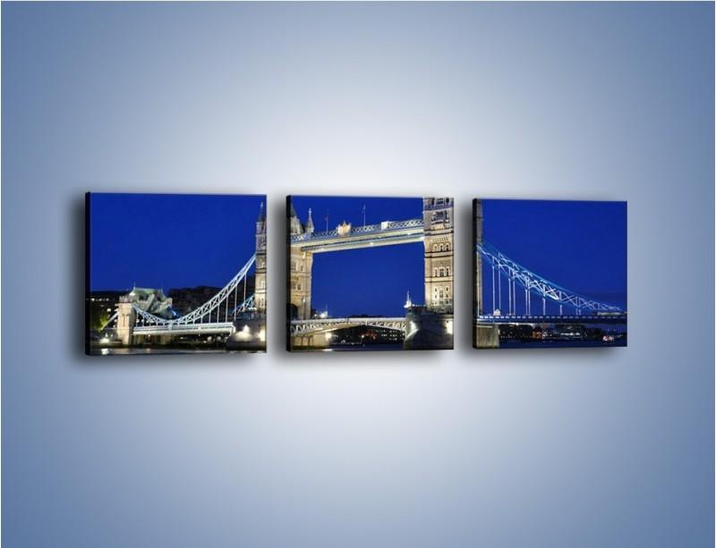 Obraz na płótnie – Tower Bridge nocą – trzyczęściowy AM145W1