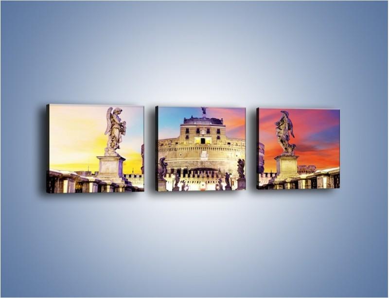 Obraz na płótnie – Zamek św. Anioła na tle kolorowego nieba – trzyczęściowy AM156W1