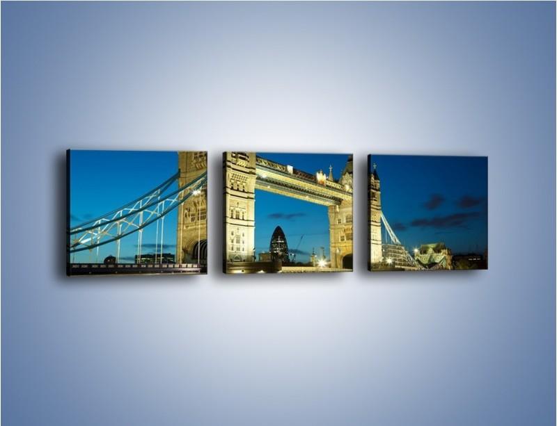 Obraz na płótnie – Tower Bridge wieczorową porą – trzyczęściowy AM159W1