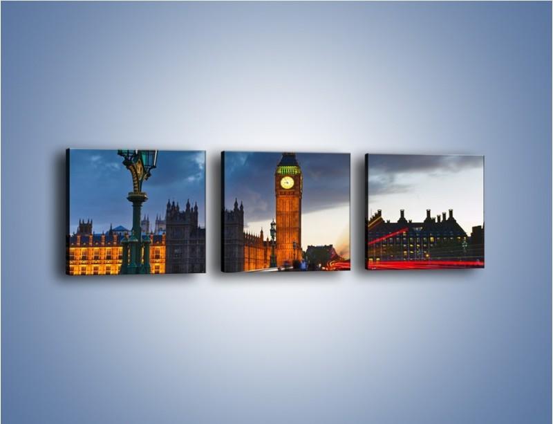 Obraz na płótnie – Big Ben świetle lamp – trzyczęściowy AM166W1