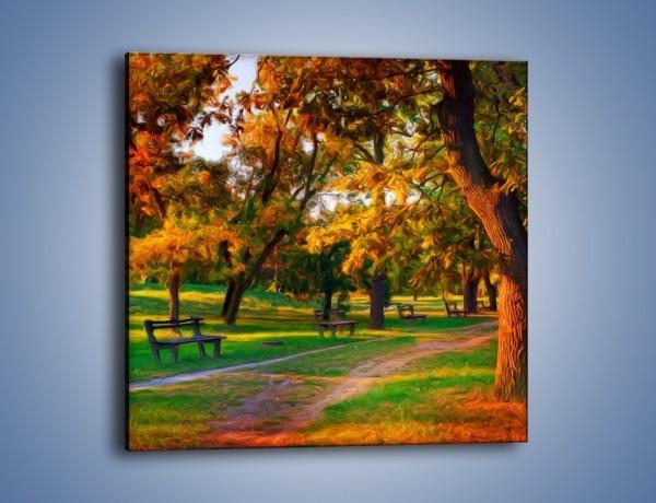 Obraz na płótnie – Ławeczka w parku – jednoczęściowy kwadratowy GR011