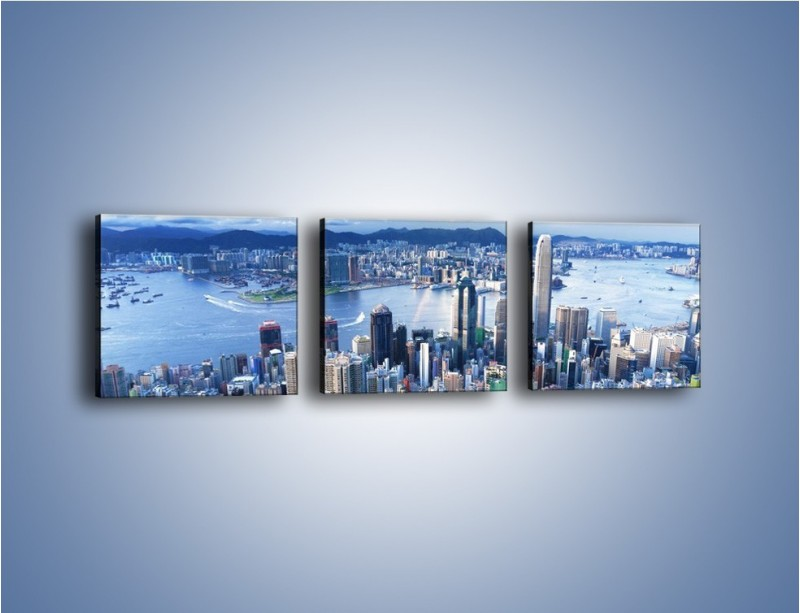 Obraz na płótnie – Miasto portowe pod błękitnym niebem – trzyczęściowy AM187W1