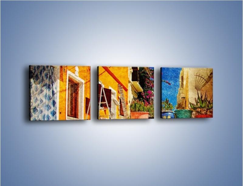 Obraz na płótnie – Greckie domki w stylu vintage – trzyczęściowy AM190W1