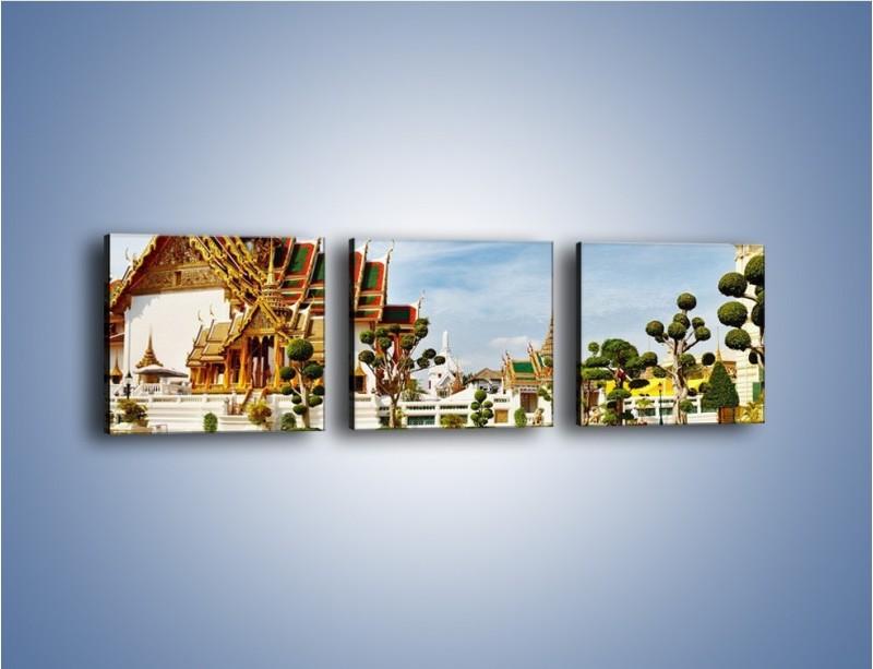 Obraz na płótnie – Tajska architektura pod błękitnym niebem – trzyczęściowy AM197W1