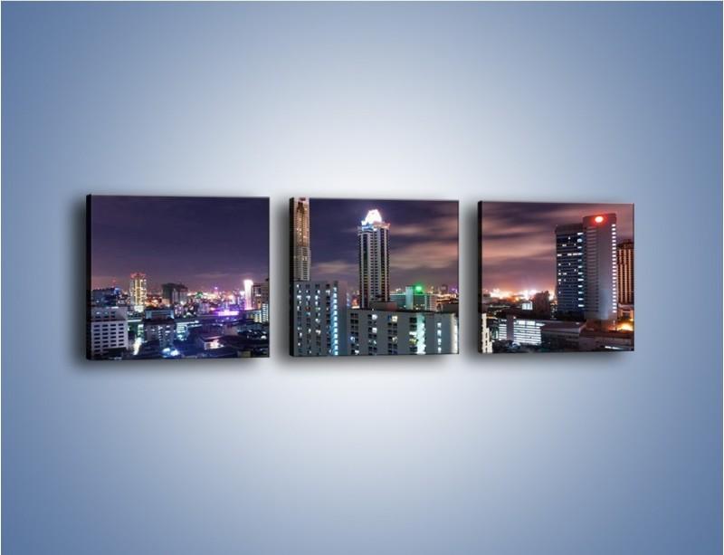 Obraz na płótnie – Duże miasto nocą – trzyczęściowy AM202W1